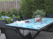 A ceramic table in blue accents the outdoor area